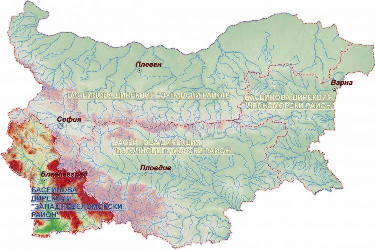 """Карта на Басейнова дирекция """"Западнобеломорски район"""""""